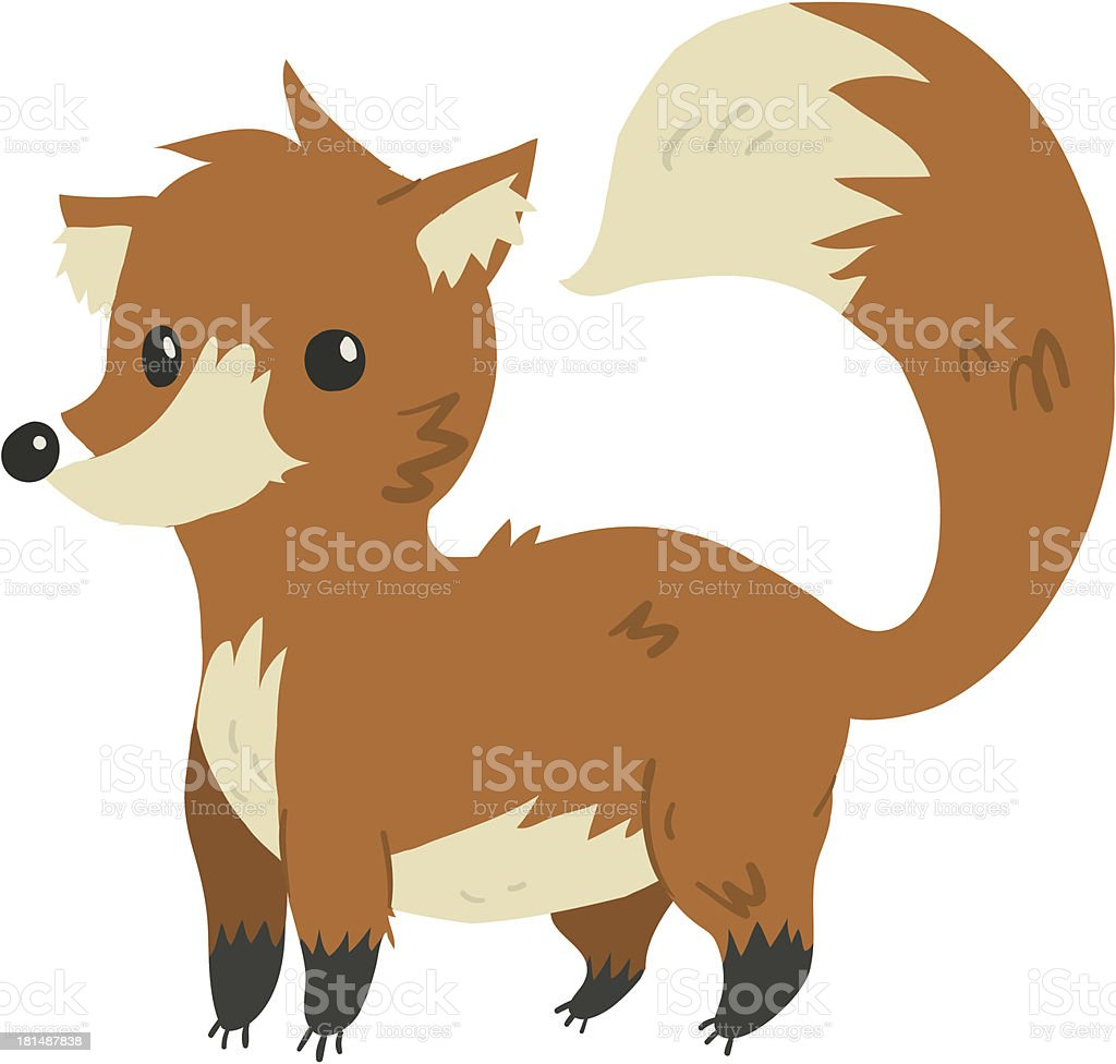 Funny cartoon fox illustration mascot royalty-free stock vector art