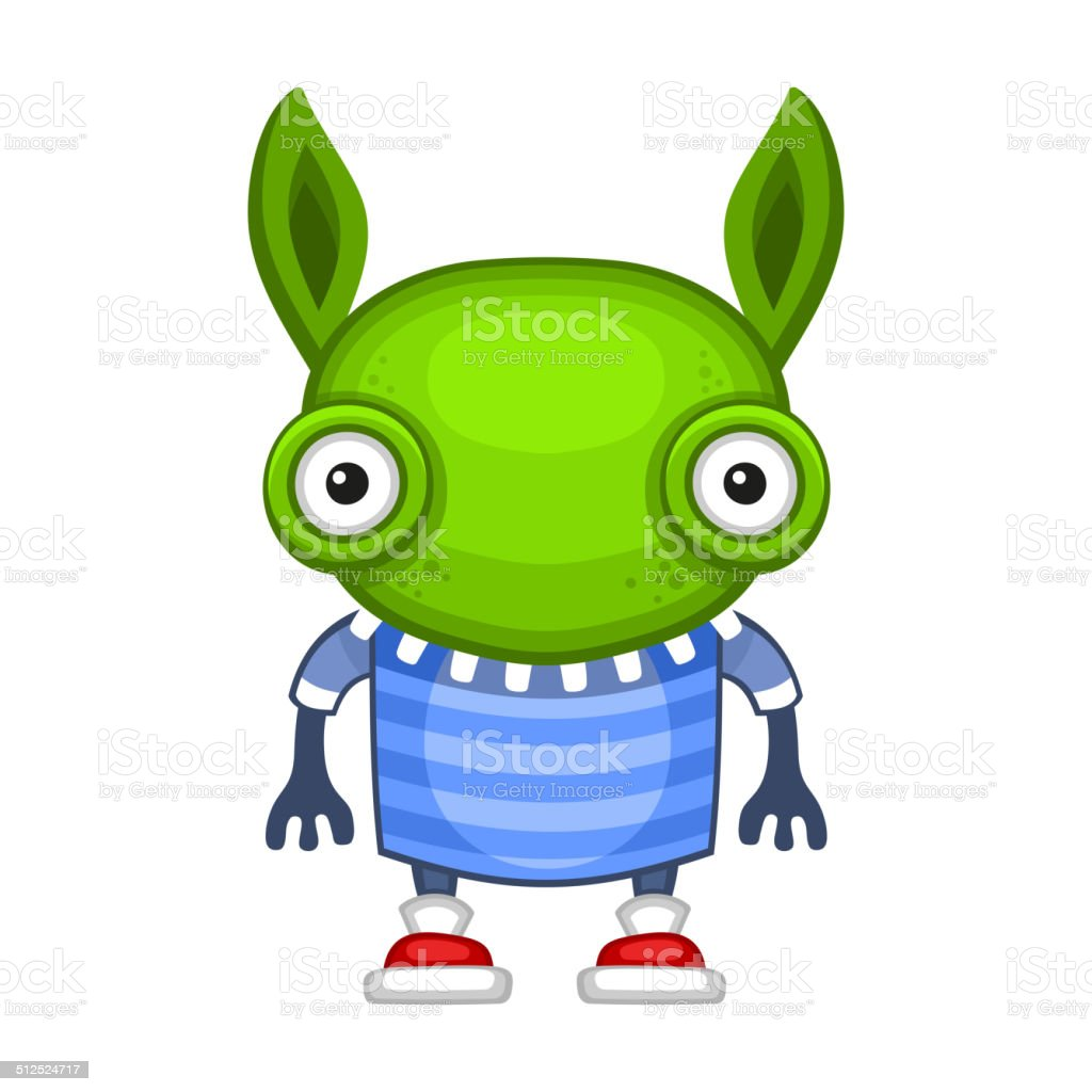 Funny Cartoon Green Alien. Vector royalty-free stock vector art