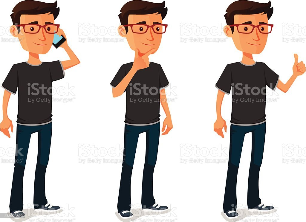 funny cartoon guy in various poses vector art illustration