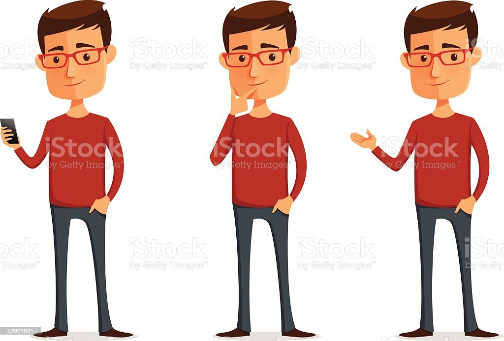 funny cartoon guy with glasses vector art illustration