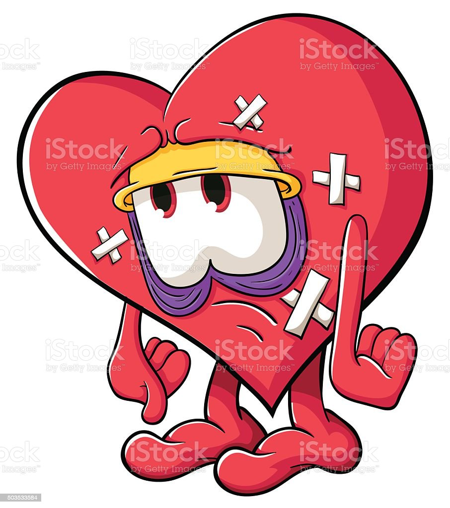 funny cartoon heart with legs and arms for valentines day stock