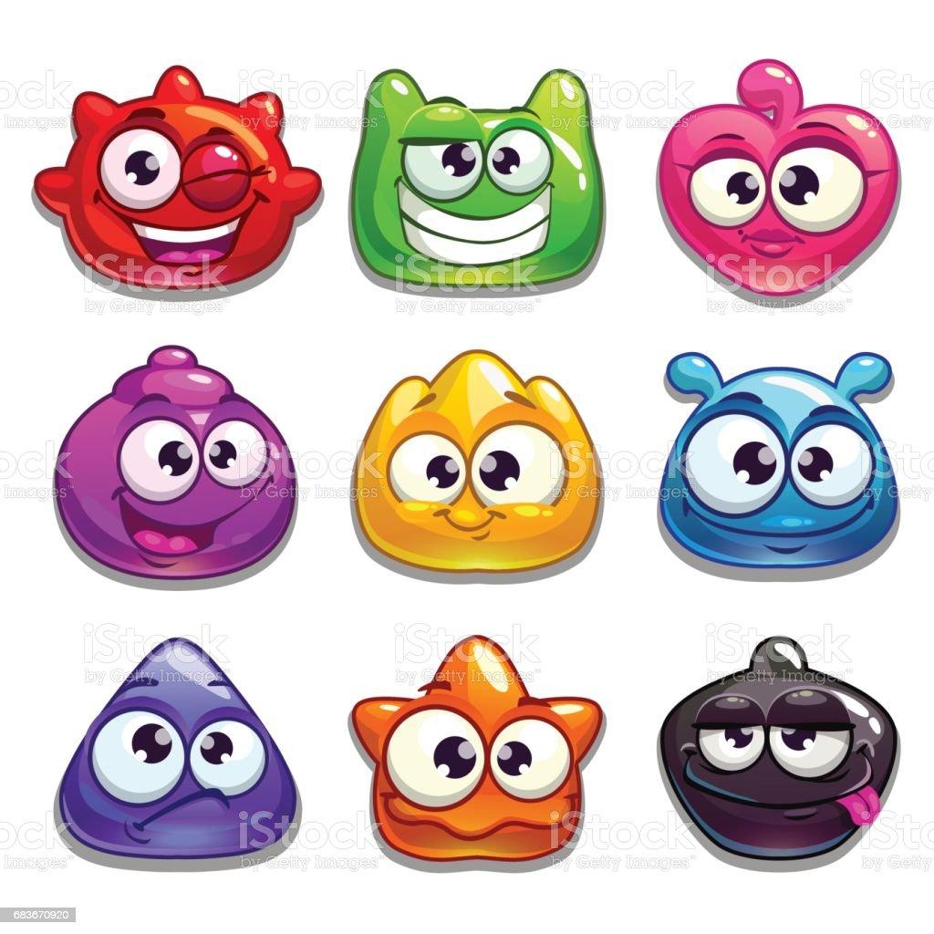 Funny cartoon jelly characters vector art illustration