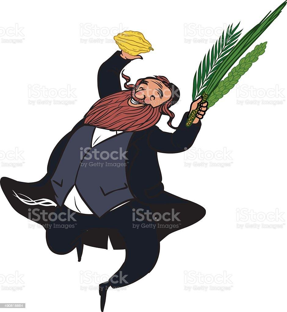 Funny cartoon jewish man dancing wiht ritual plants for Sukkot. vector art illustration