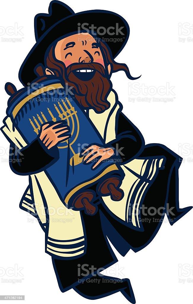 Funny cartoon jewish man dancing with Torah. Vector illustration vector art illustration