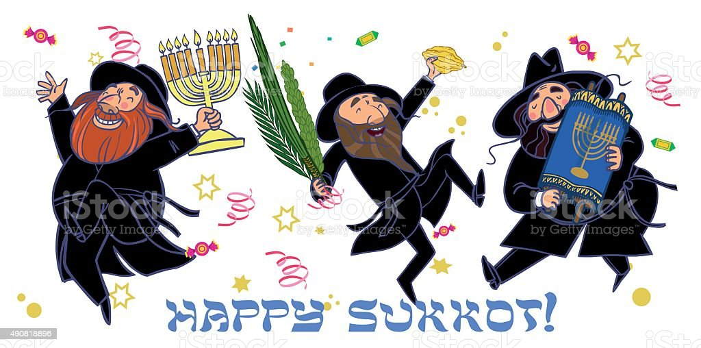 Funny cartoon jewish men dancing wiht ritual plants for Sukkot. vector art illustration