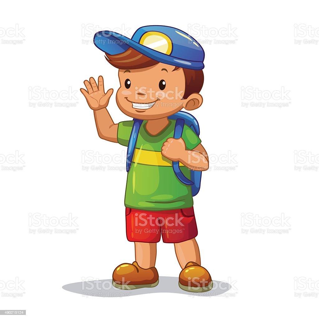 Funny Cartoon Little Boy With School Bag stock vector art ...