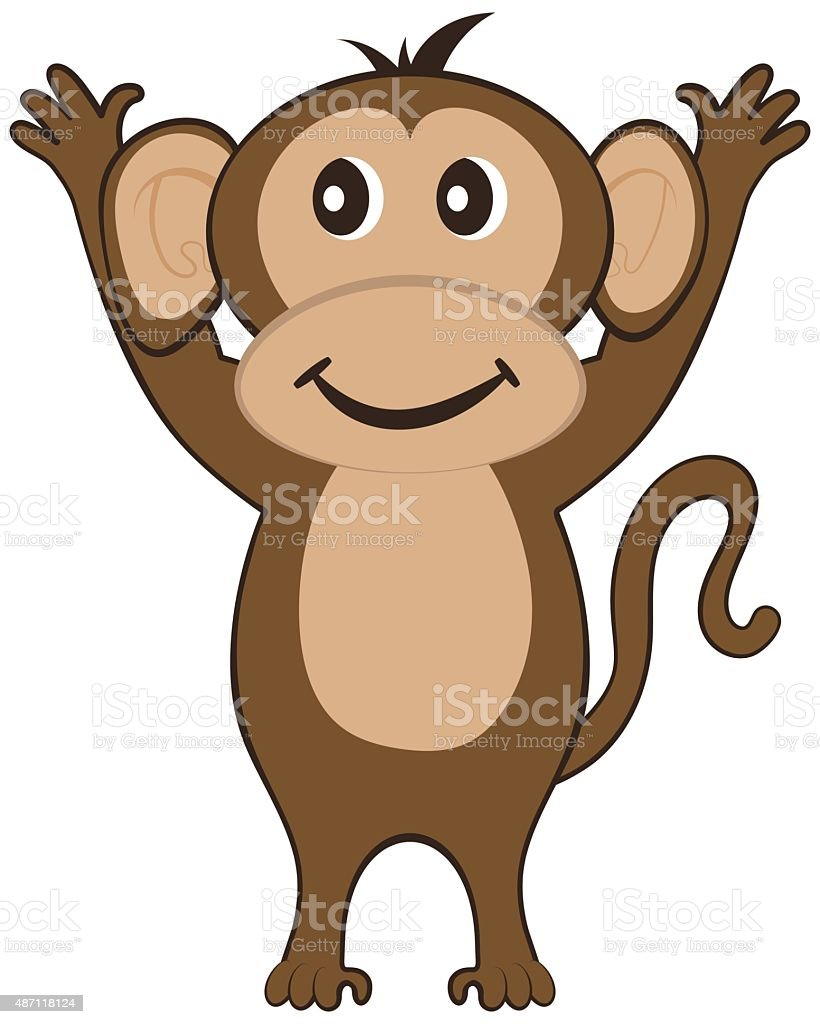Funny Cartoon Monkey vector art illustration