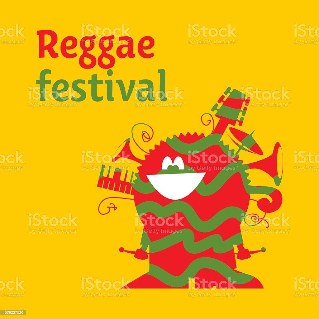 funny cartoon musician man with instruments. classic color regga vector art illustration