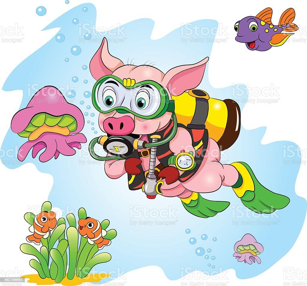 Funny cartoon pig diver looking at jellyfish vector art illustration