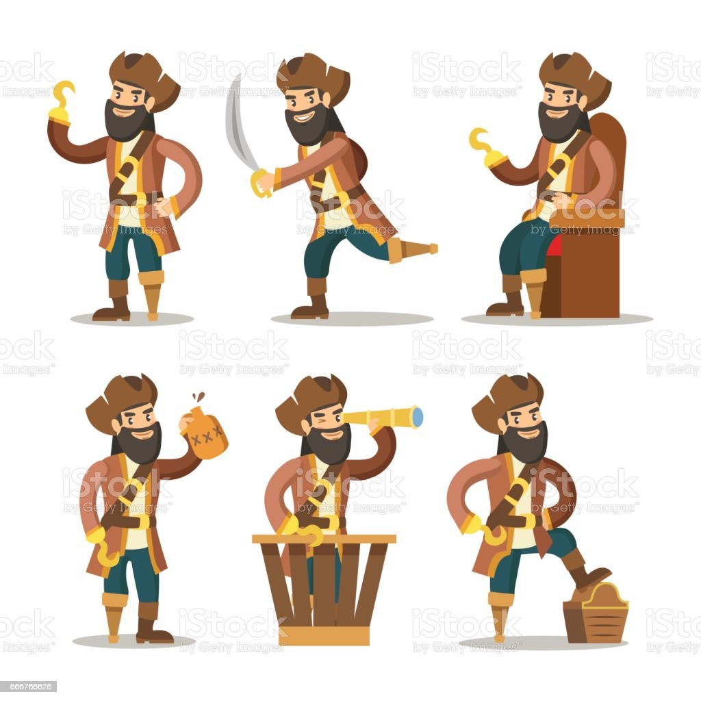 Funny Cartoon Pirate with Sword and Treasure vector art illustration