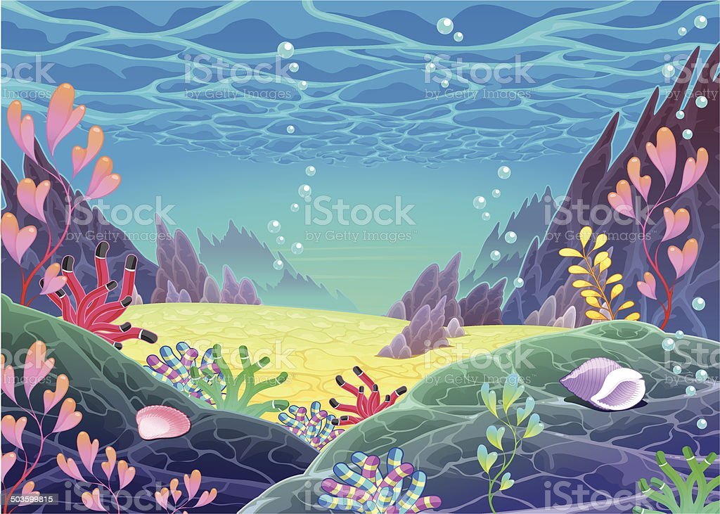 Funny cartoon seascape. vector art illustration