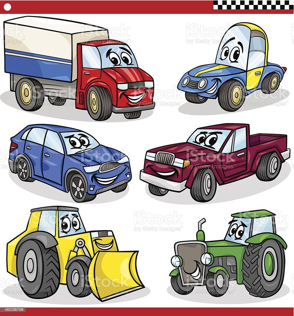 funny cartoon vehicles and cars set royalty-free stock vector art