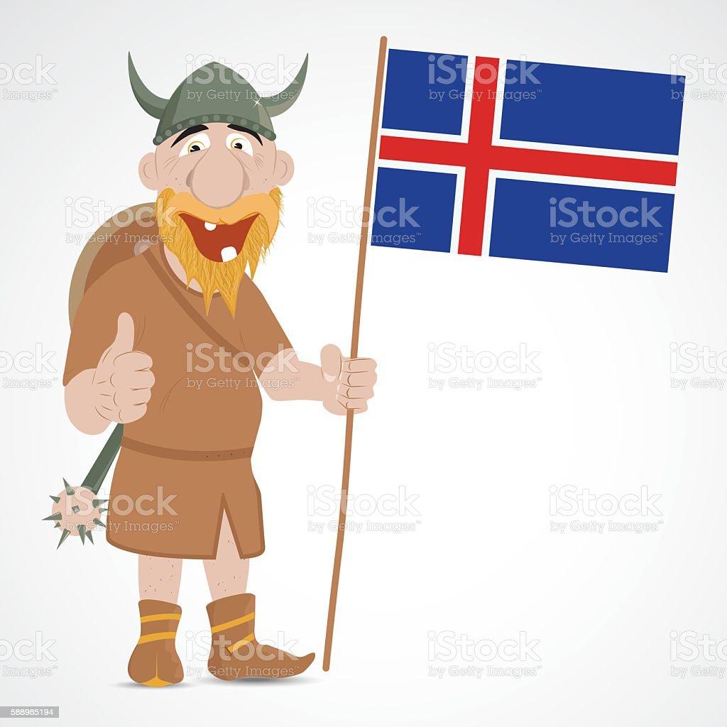 Funny cartoon viking vector art illustration