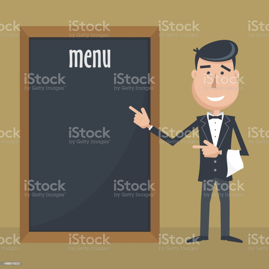 Funny cartoon waiter with menu. vector art illustration