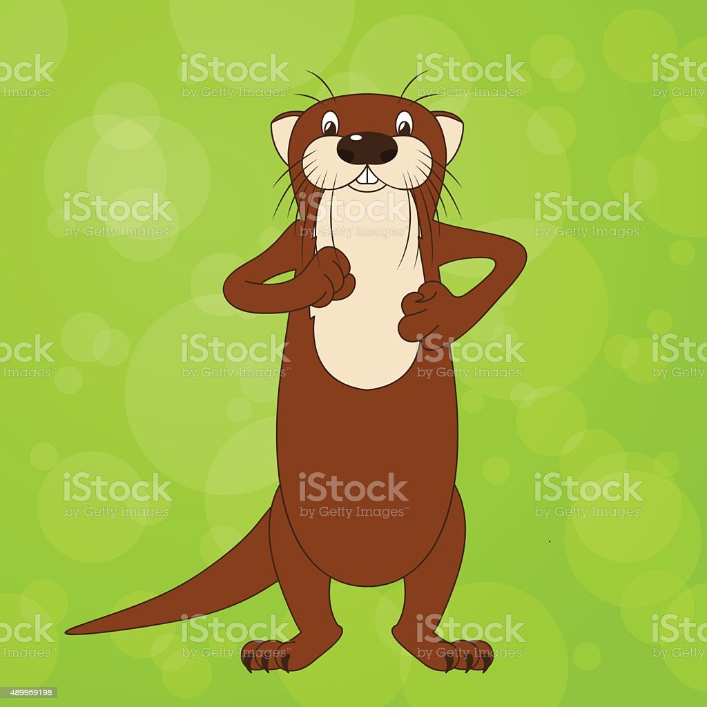 Funny cartoon walking river otter, vector illustration vector art illustration