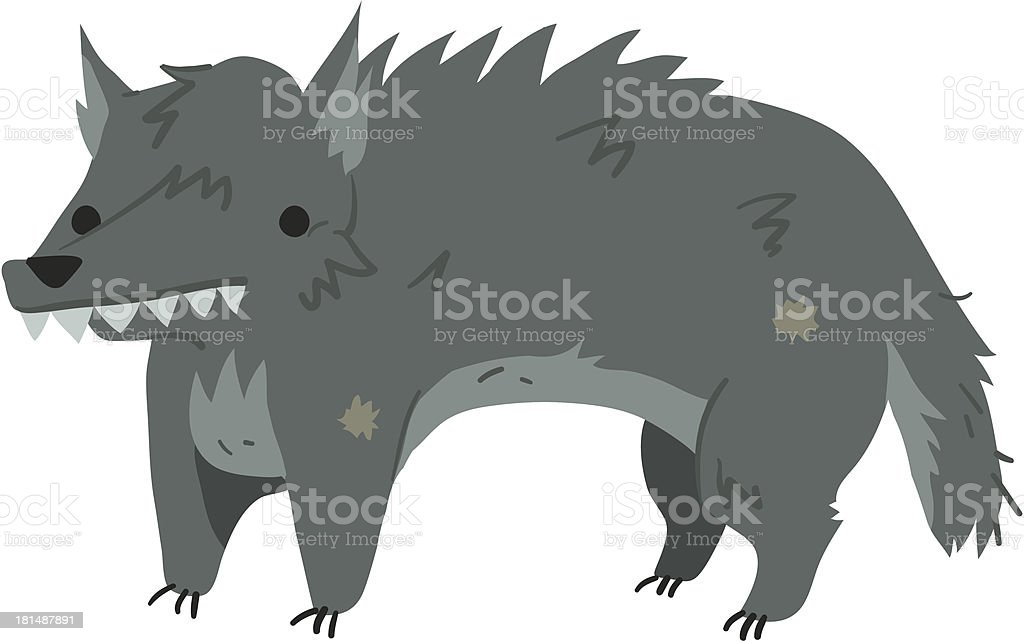 Funny cartoon wolf illustration mascot royalty-free stock vector art
