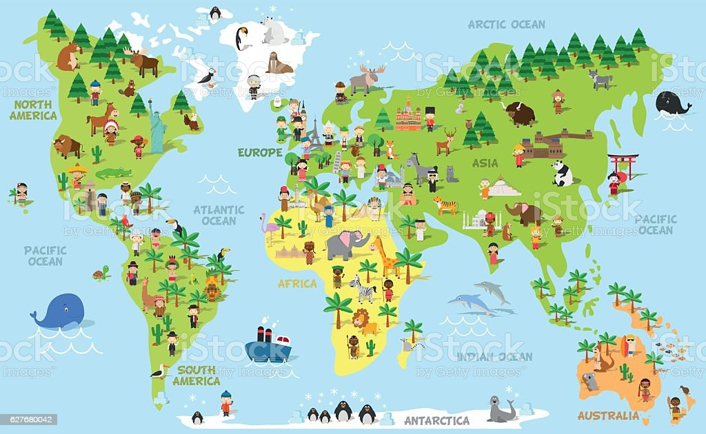 Funny cartoon world map with children, animals and monuments vector art illustration