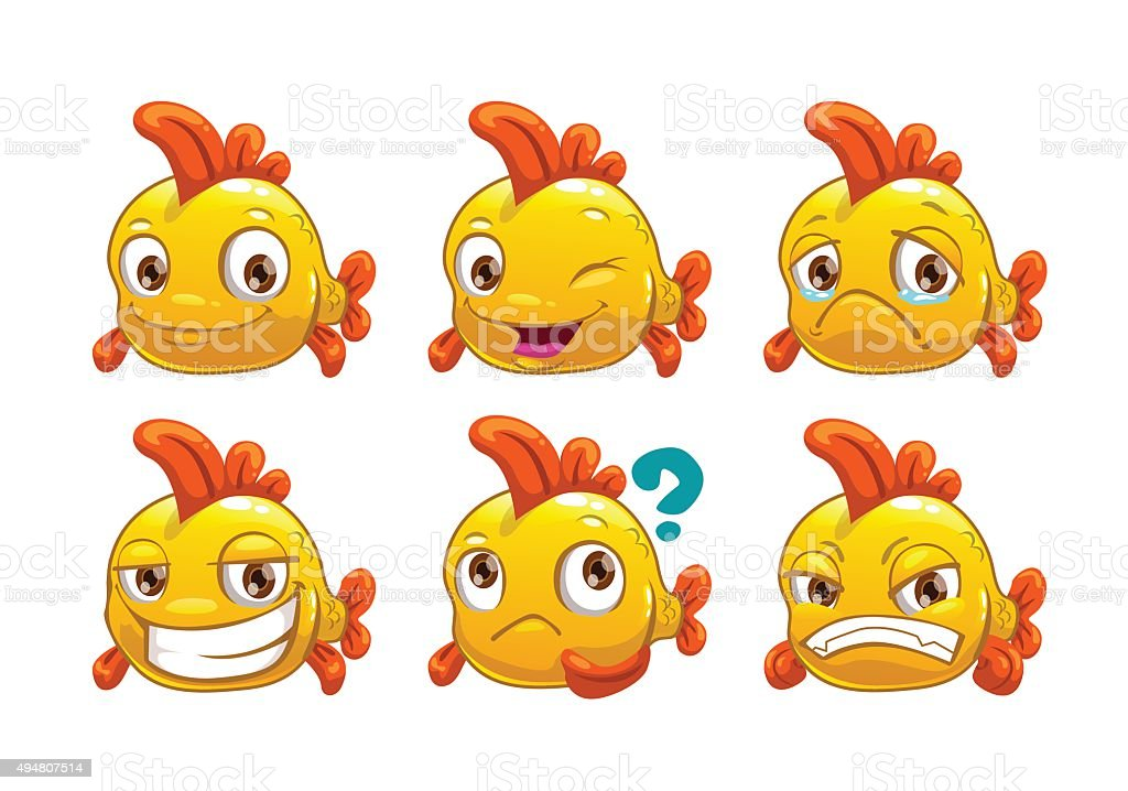Funny cartoon yellow fish with different emotions vector art illustration