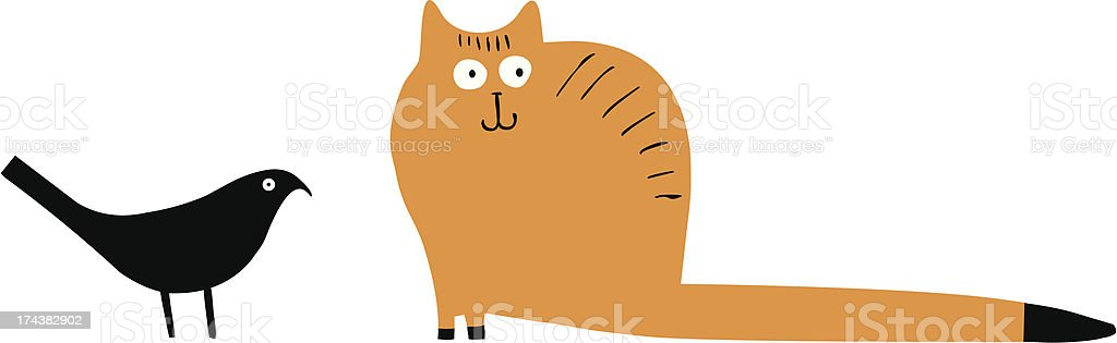 Funny cat and bird vector art illustration