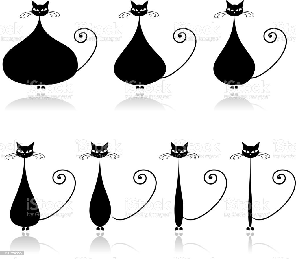 Funny cat is losing weight royalty-free stock vector art