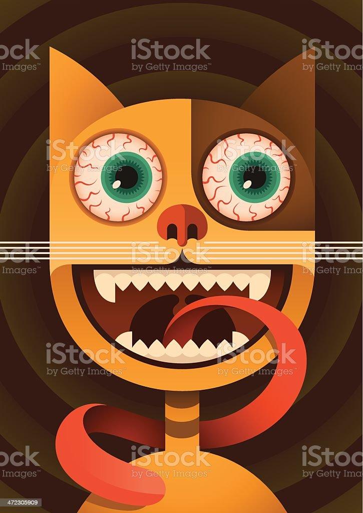 Funny cat. vector art illustration