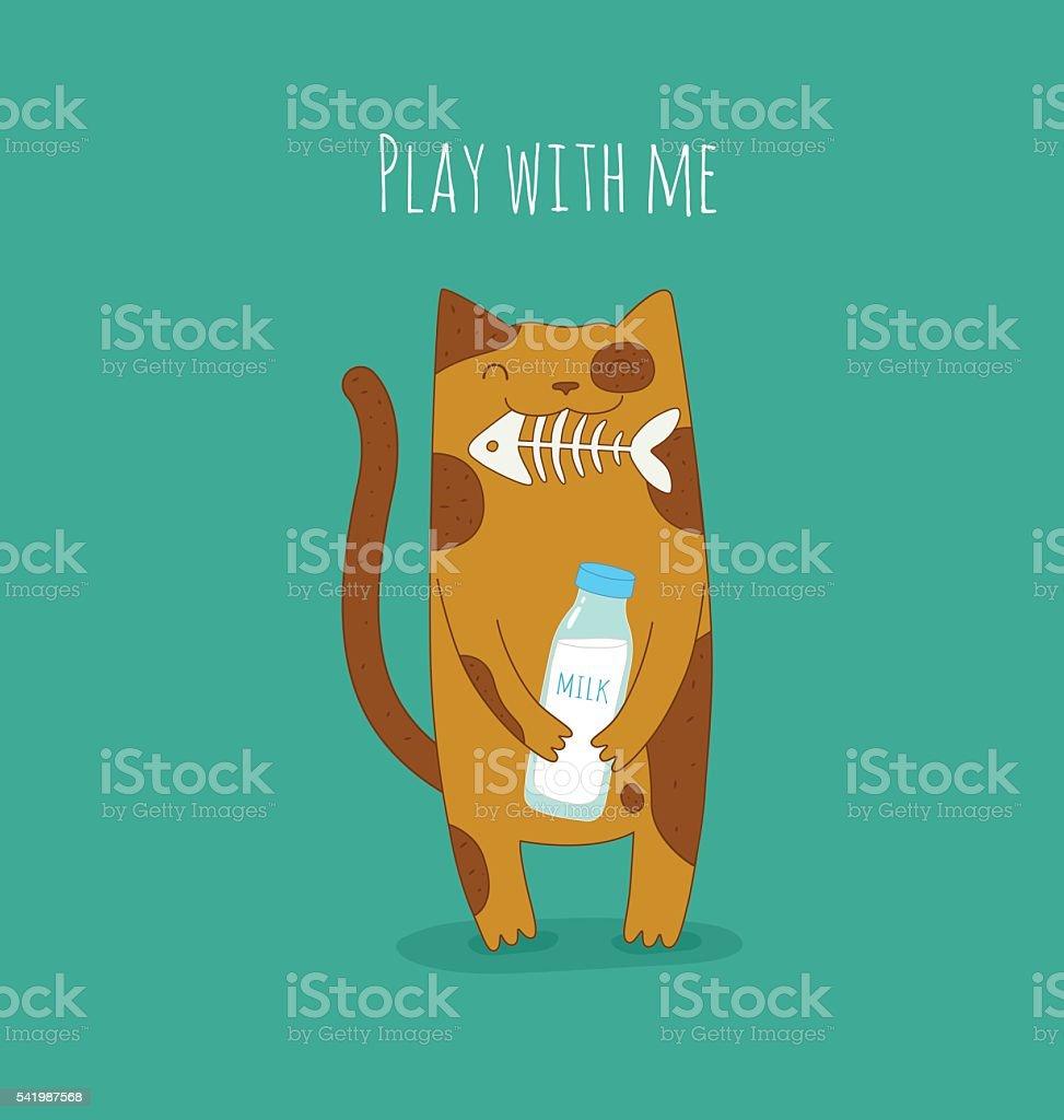 Funny cat vector art illustration