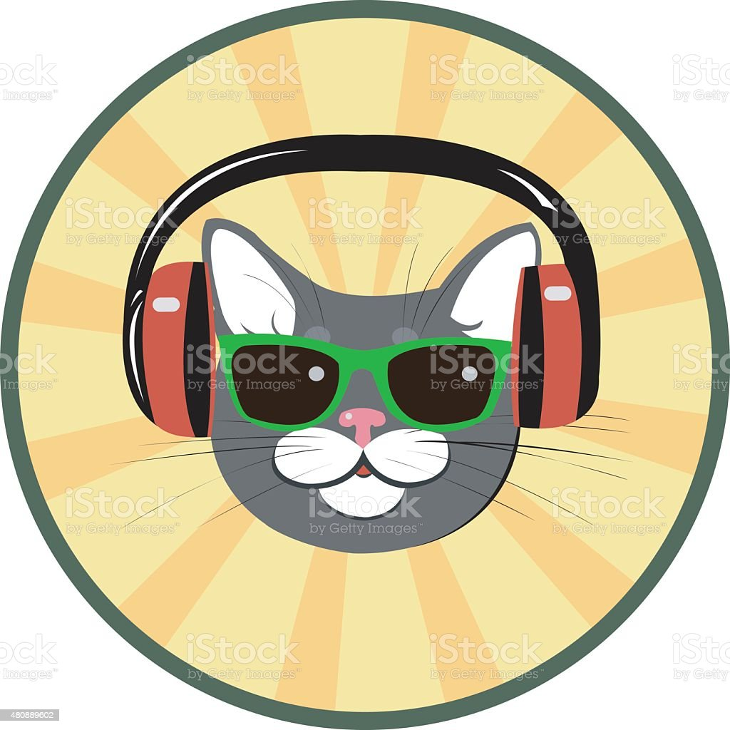 funny cat with headphones and sunglasses royalty-free stock vector art