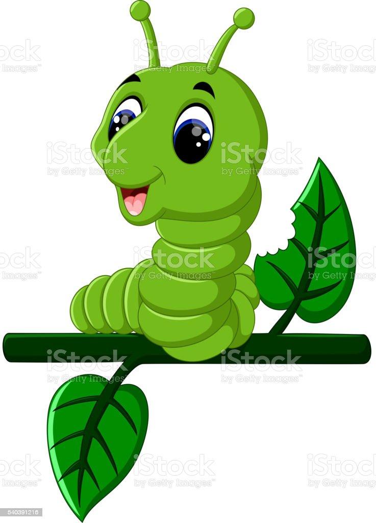 Funny caterpillar runs vector art illustration