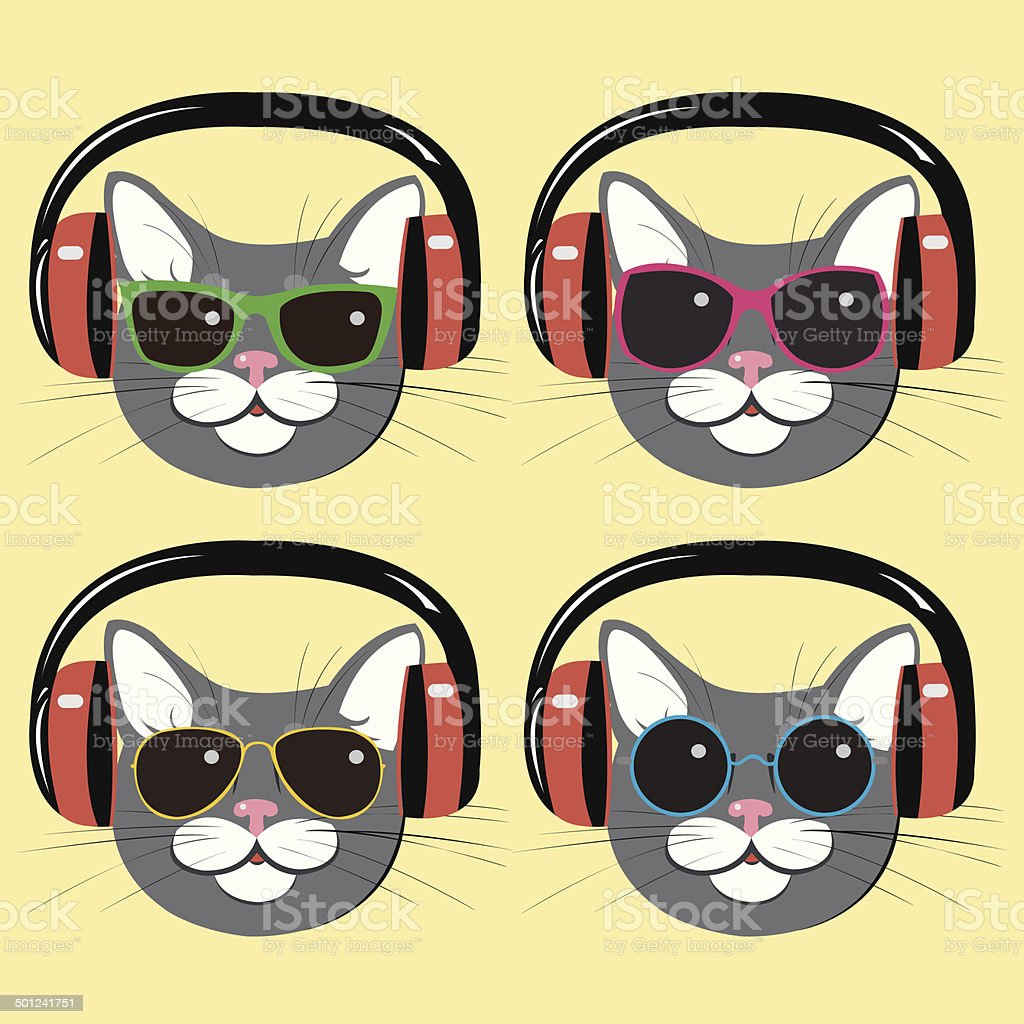 funny cats in music  headphones and sunglasses royalty-free stock vector art