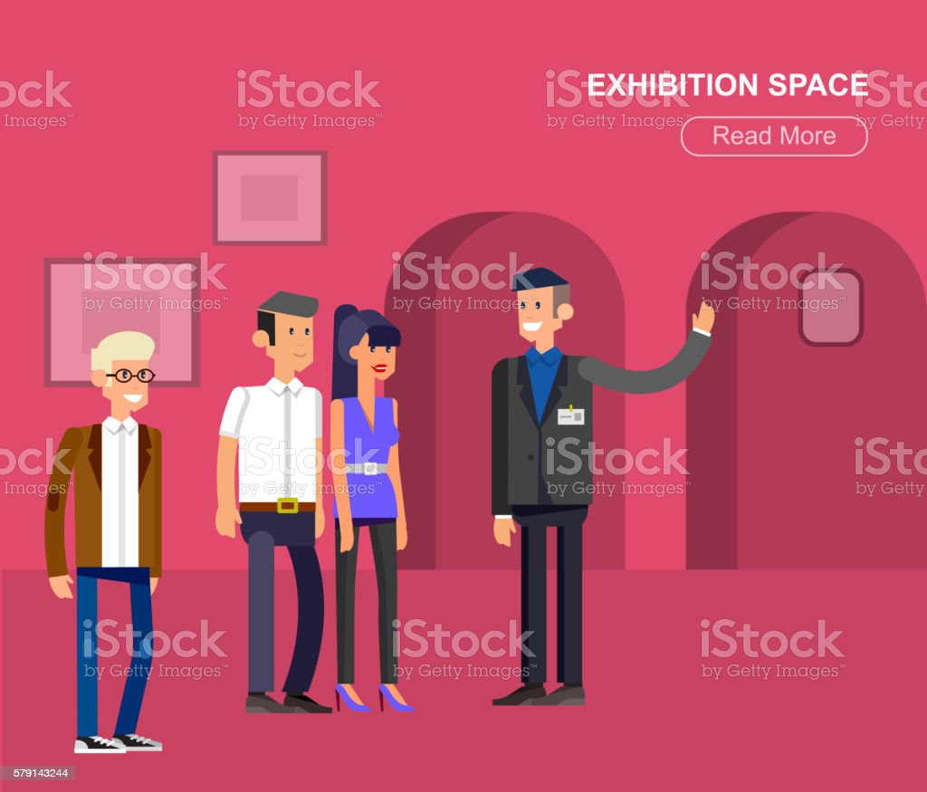 Funny character people in museum vector art illustration