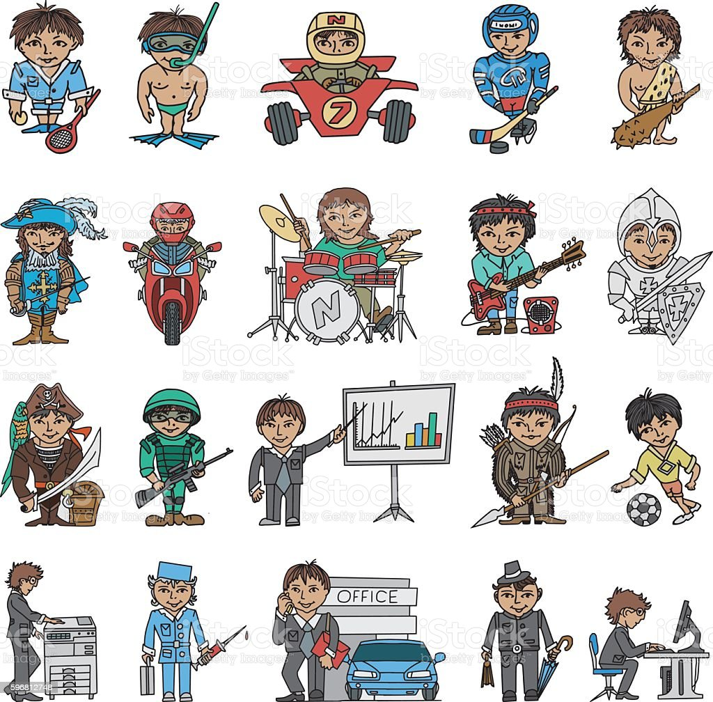 Funny Characters Doodles Set vector art illustration
