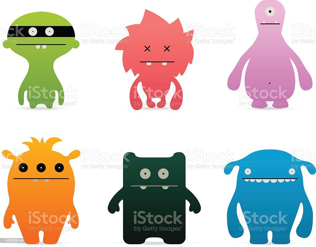 Funny characters set | Monsters vector art illustration