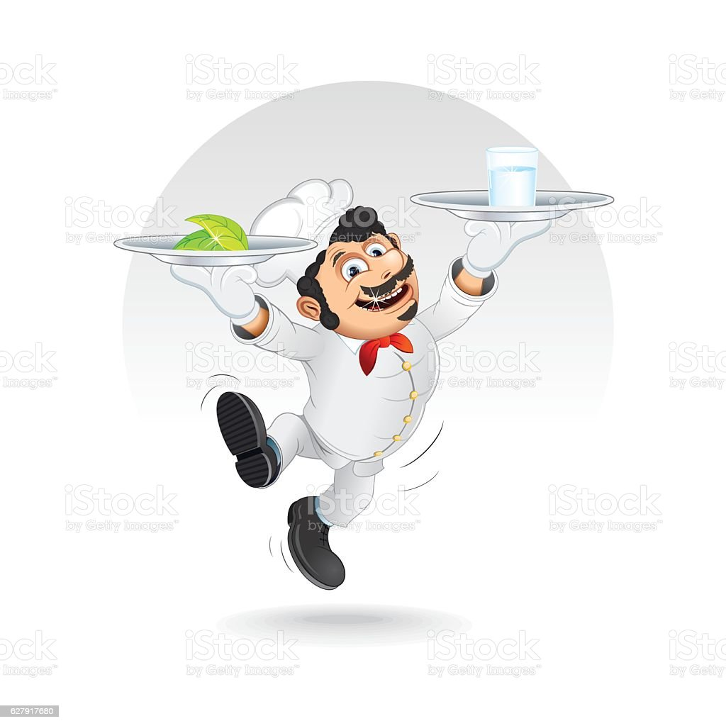 Funny Chef Cook with Diet Food on Dishes. Vector vector art illustration