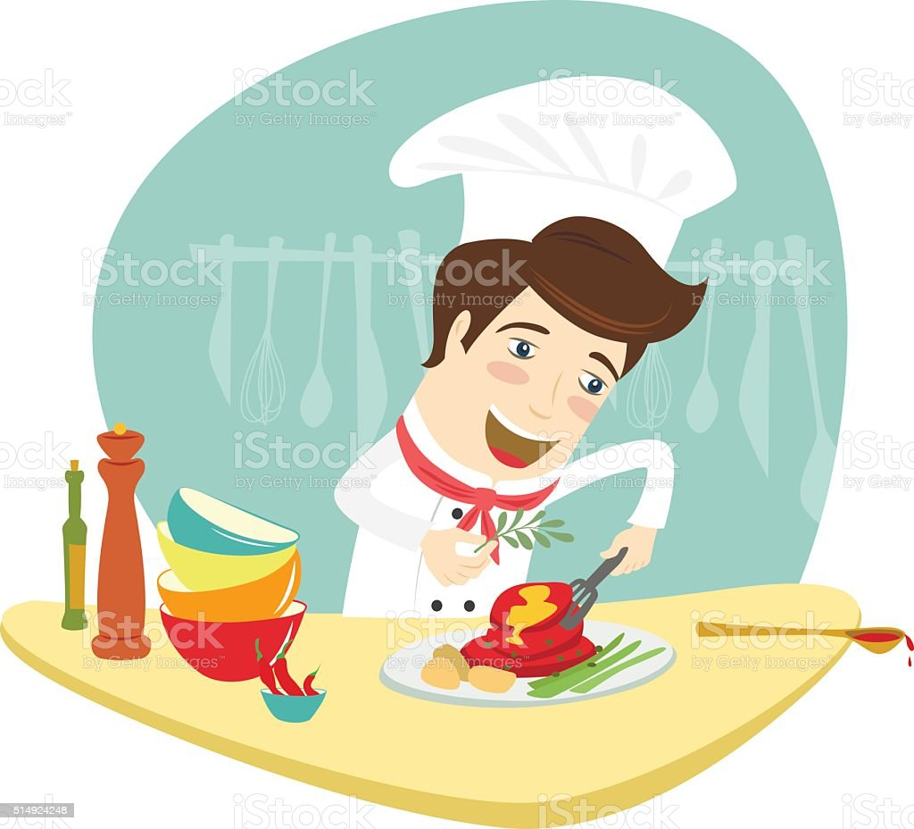 Selection of cartoons on cooking kitchens food and eating - Commercial Kitchen Cooking Food And Drink Establishment Kitchen Menu
