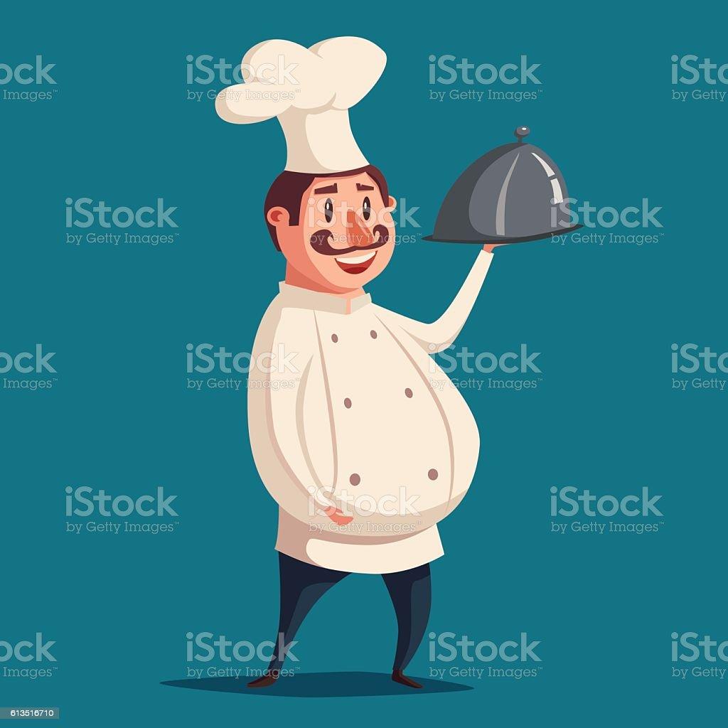 Funny chef, cute character. Vector cartoon illustration vector art illustration