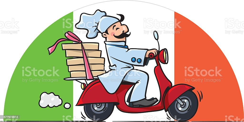 Funny chef on scooter. Pizza delivery vector art illustration