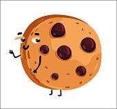 Funny chocolate chip cookie cartoon character
