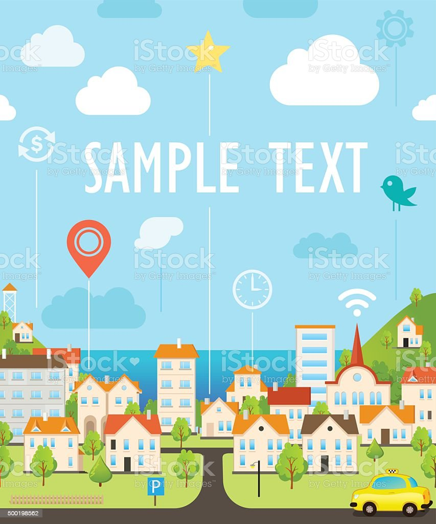 Funny Cityscape Background vector art illustration