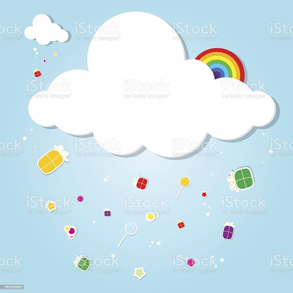 Drôle cloud. pluie de cadeaux stock vecteur libres de droits libre de droits