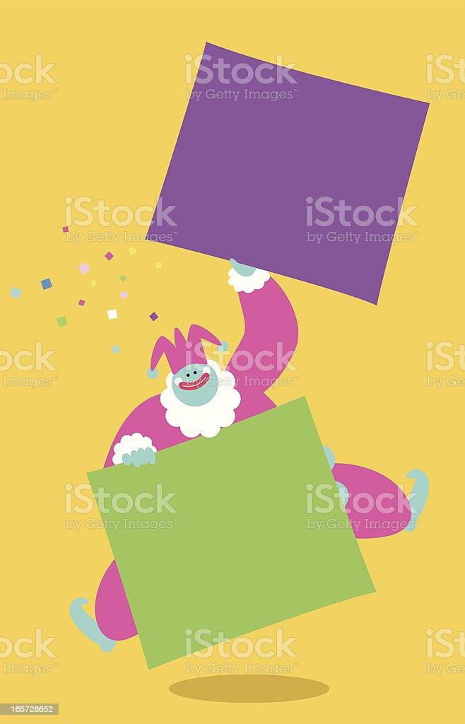 Funny Clown Holding Sign vector art illustration