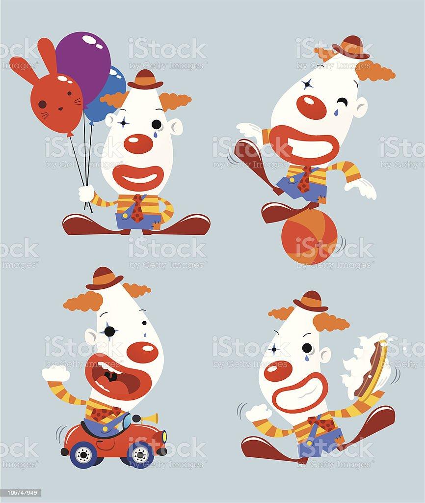 Funny Clown Set vector art illustration