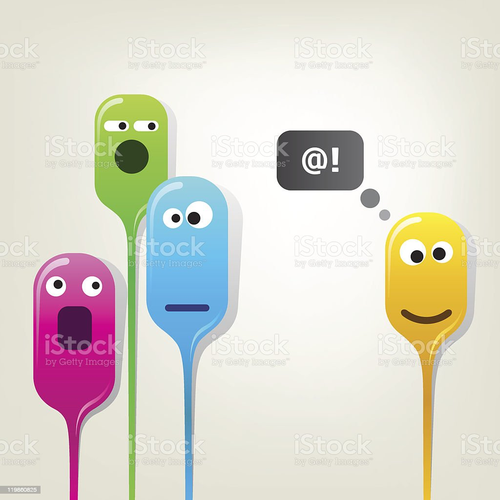 Funny color bubble-heads royalty-free stock vector art