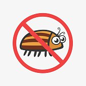 Funny Colorado potato beetle. Flat Vector icons for your design