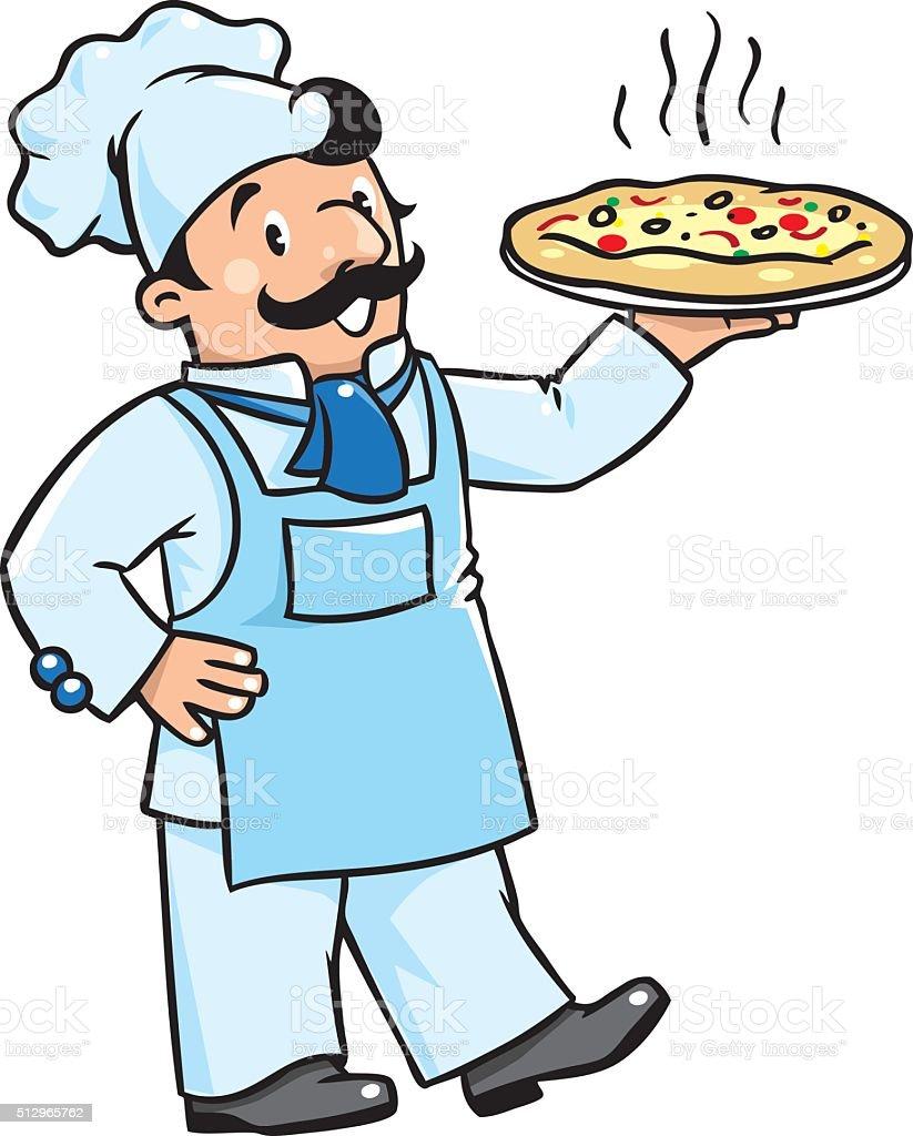 divertente o chef cucinare con pizza illustrazione royalty free