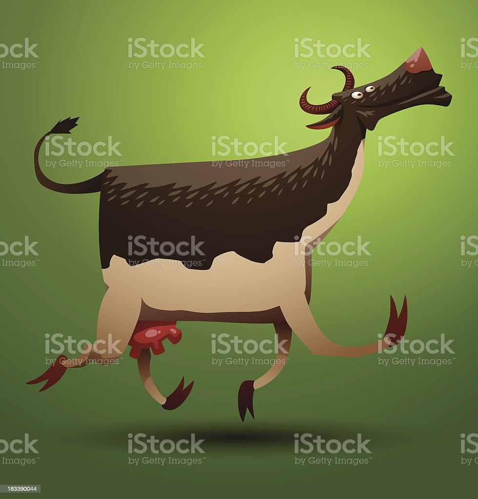 Funny cow brown and white royalty-free stock vector art