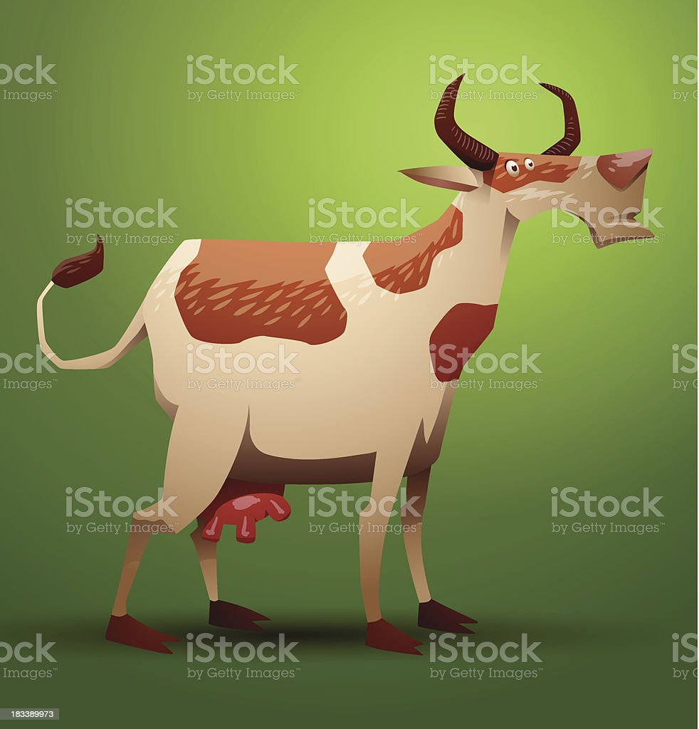 Funny cow ginger and white spotted royalty-free stock vector art