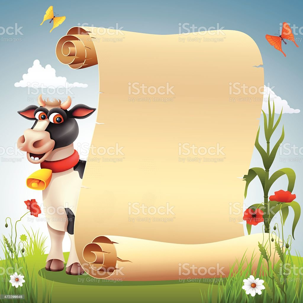 Funny Cow with Scroll royalty-free stock vector art