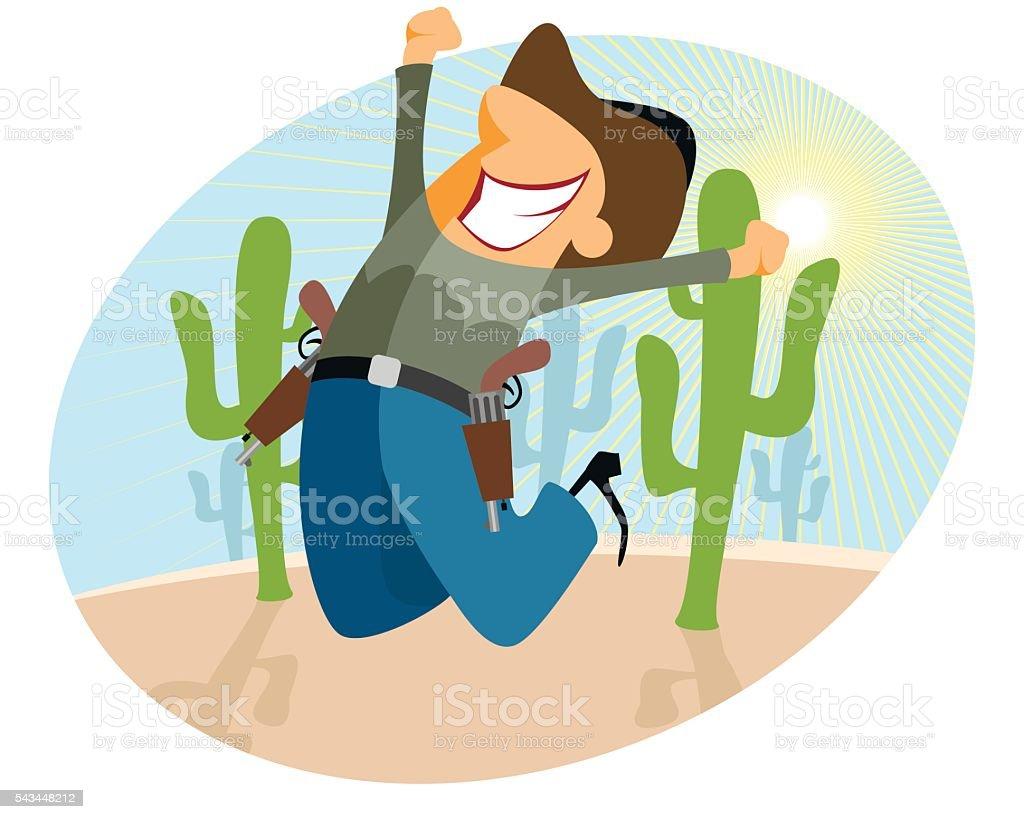 Funny cowboy jumping vector art illustration