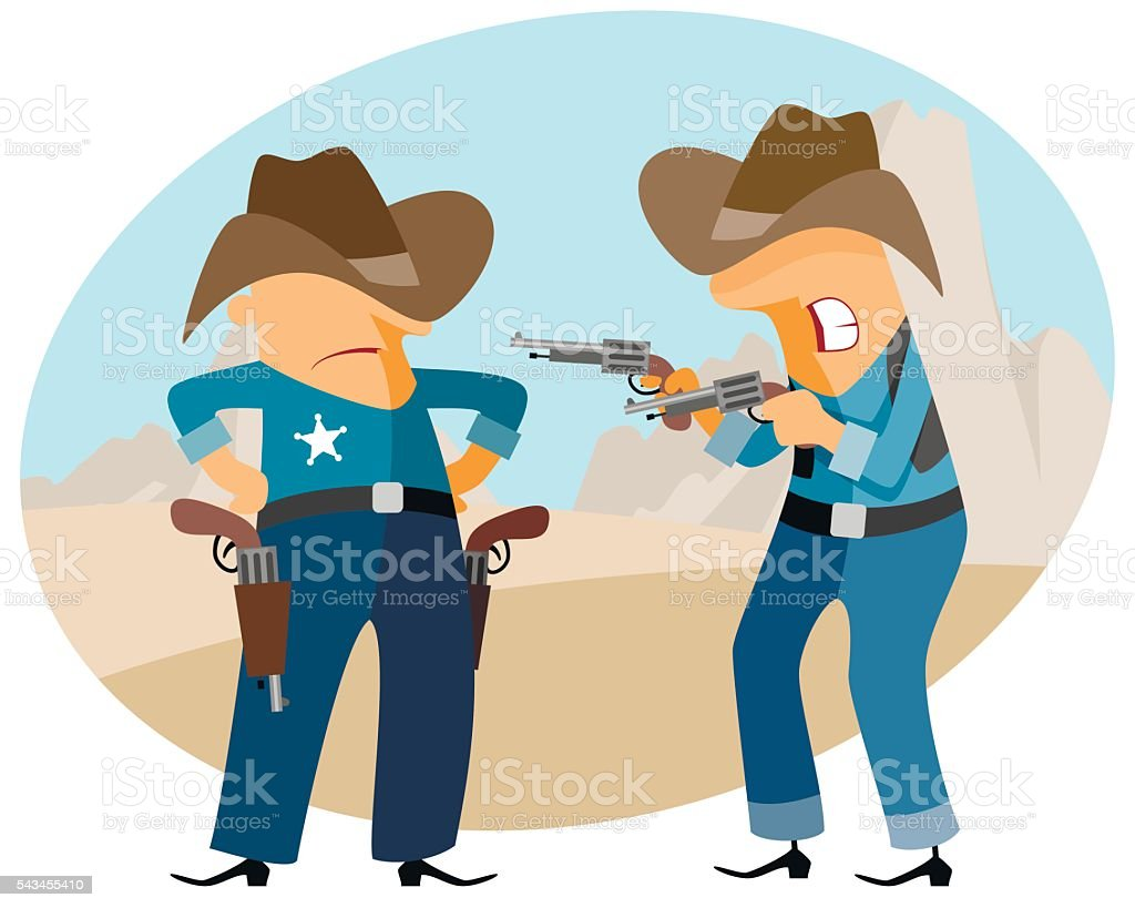 Funny cowboys at wild west vector art illustration