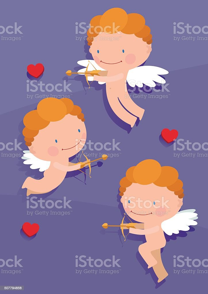 funny cupids in a flat style vector art illustration